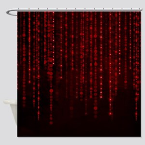 Romantic Red String Lights Shower Curtain
