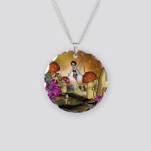 Cute flying fairy in the sunset Necklace