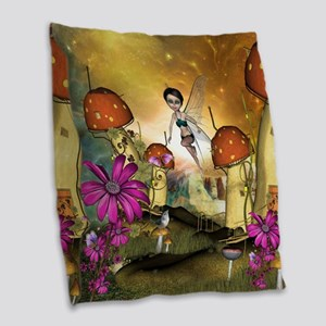 Cute flying fairy in the sunset Burlap Throw Pillo