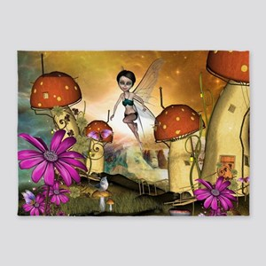 Cute flying fairy in the sunset 5'x7'Area Rug
