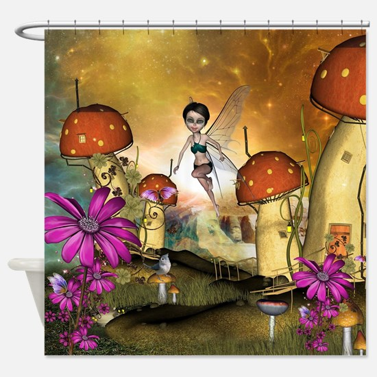 Cute flying fairy in the sunset Shower Curtain
