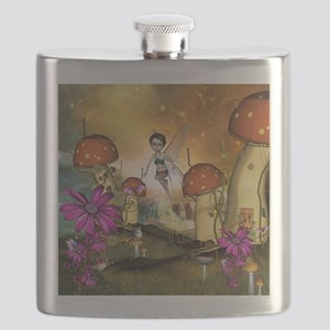 Cute flying fairy in the sunset Flask