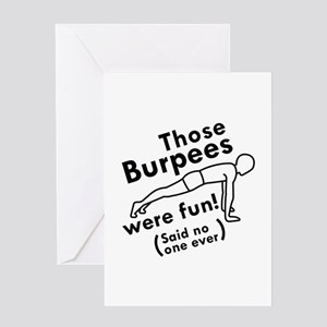 Funny gym greeting cards cafepress those burpees were fun greeting card m4hsunfo