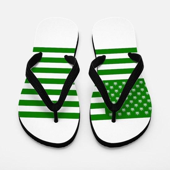 Marijuana American Flag Flip Flops