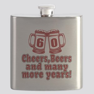 60 Cheers Beers And Many More Years Flask