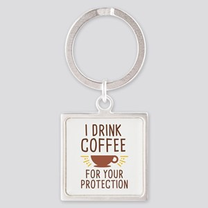 I Drink Coffee Square Keychain