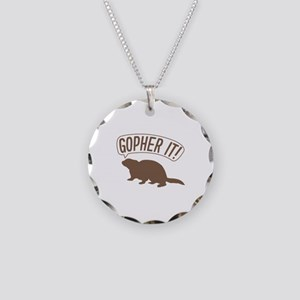 Gopher It Necklace Circle Charm
