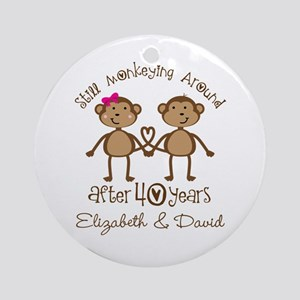 40th Anniversary Funny Personalized Gift Round Orn