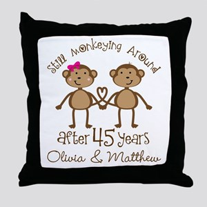 45th Wedding Anniversary Personalized Throw Pillow