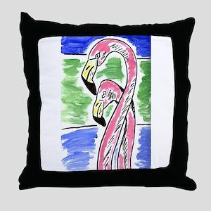 Two Flamingos Throw Pillow