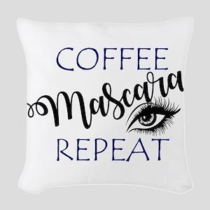 Coffee Mascara Repeat Woven Throw Pillow