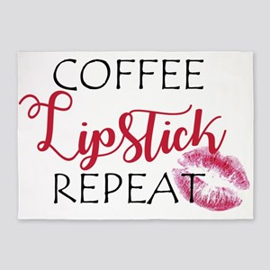 Coffee Lipstick Repeat 5'x7'Area Rug