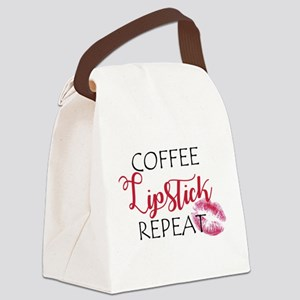 Coffee Lipstick Repeat Canvas Lunch Bag