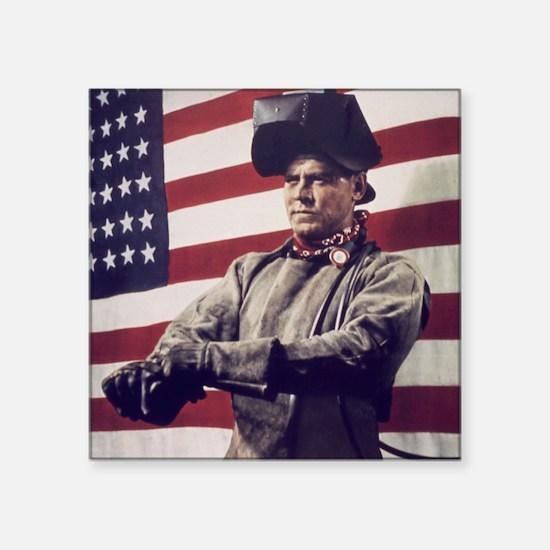 """Patriotic Vintage Welder Square Sticker 3"""" x 3"""""""