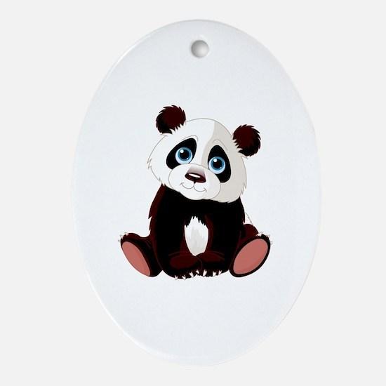 Cute Panda Oval Ornament
