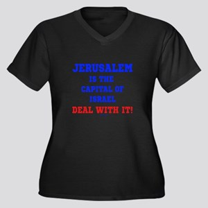 Jerusalem's Women's Plus Size V-Neck Dark T-Shirt
