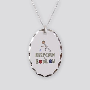 Keep Calm Bowls Necklace Oval Charm