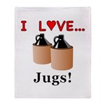 I Love Jugs Throw Blanket