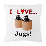 I Love Jugs Woven Throw Pillow
