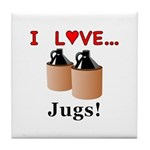 I Love Jugs Tile Coaster