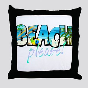 Kids Beach Please! Throw Pillow