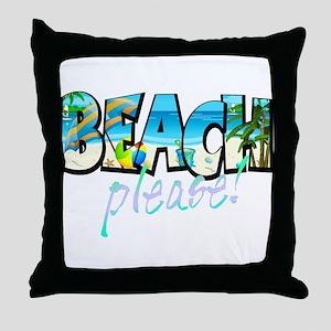 Kids Beach Please! Throw Pillow