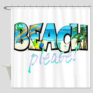 Kids Beach Please Shower Curtain