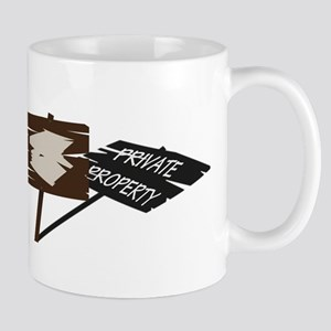 Private Property Shadow Sign Mugs