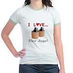 I Love Nice Jugs Jr. Ringer T-Shirt
