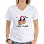 I Love Nice Jugs Women's V-Neck T-Shirt