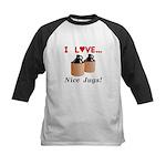 I Love Nice Jugs Kids Baseball Jersey