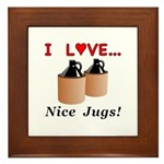 I Love Nice Jugs Framed Tile