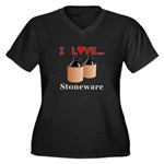 I Love Stone Women's Plus Size V-Neck Dark T-Shirt