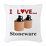 I Love Stoneware Woven Throw Pillow