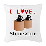 I Love Stoneware Woven Throw Pillow