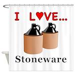 I Love Stoneware Shower Curtain