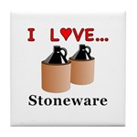 I Love Stoneware Tile Coaster