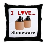 I Love Stoneware Throw Pillow