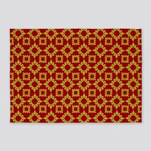 Red & Gold Ornamental Flowers Patte 5'x7'Area Rug