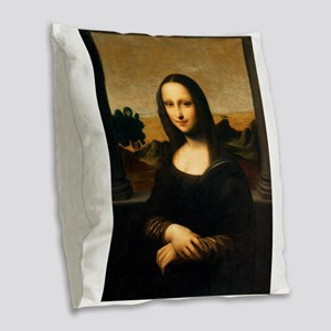 Leonardo's Mona Lisa Burlap Throw Pillow
