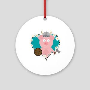 Viking Swine in flower heart Round Ornament