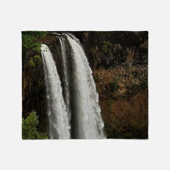 Wailua Falls near Lihue on Kauai Isl Throw Blanket