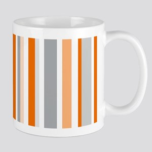 Orange, Grey & White: Stripes Pattern ( Mug