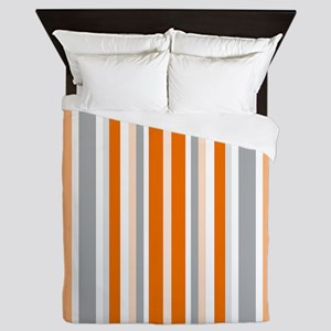Orange, Grey & White: Stripes Pattern Queen Duvet