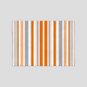Orange, Grey & White: Stripes Patte 5'x7'Area Rug