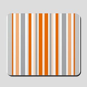 Orange, Grey & White: Stripes Pattern (V Mousepad