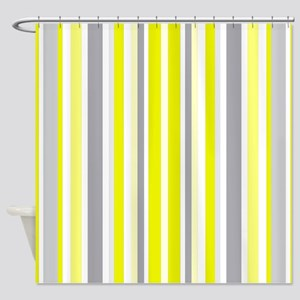Yellow Grey White Stripes Patte Shower Curtain
