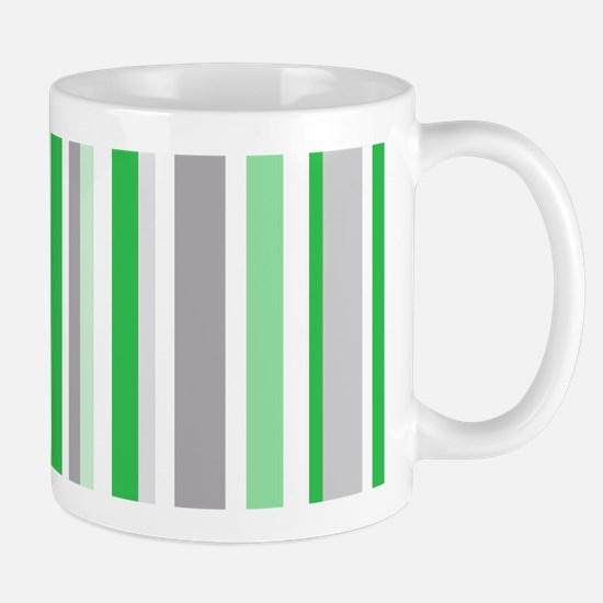 Green, Grey & White: Stripes Pattern (V Mug