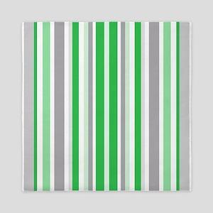 Green, Grey & White: Stripes Pattern ( Queen Duvet