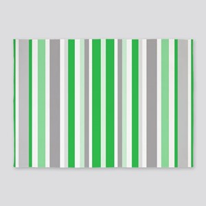 Green, Grey & White: Stripes Patter 5'x7'Area Rug
